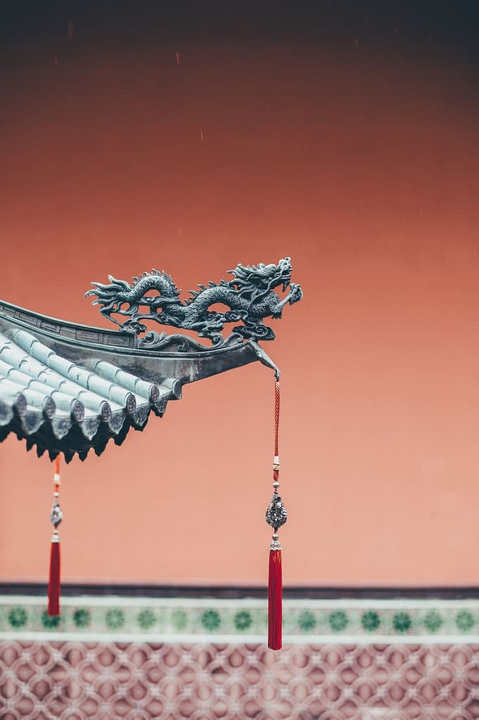 Chinese dragon on the edge of a pagoda.
