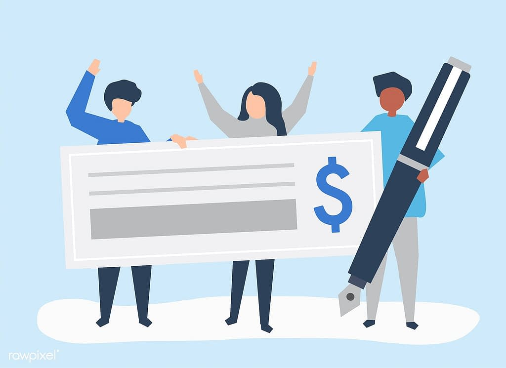 Drawing of three people holding a giant cheque and pen