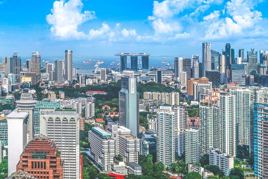 Aerial photo of skyscrapers in Singapore