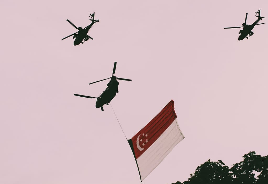 Singapore Flag Flown By Helicopters