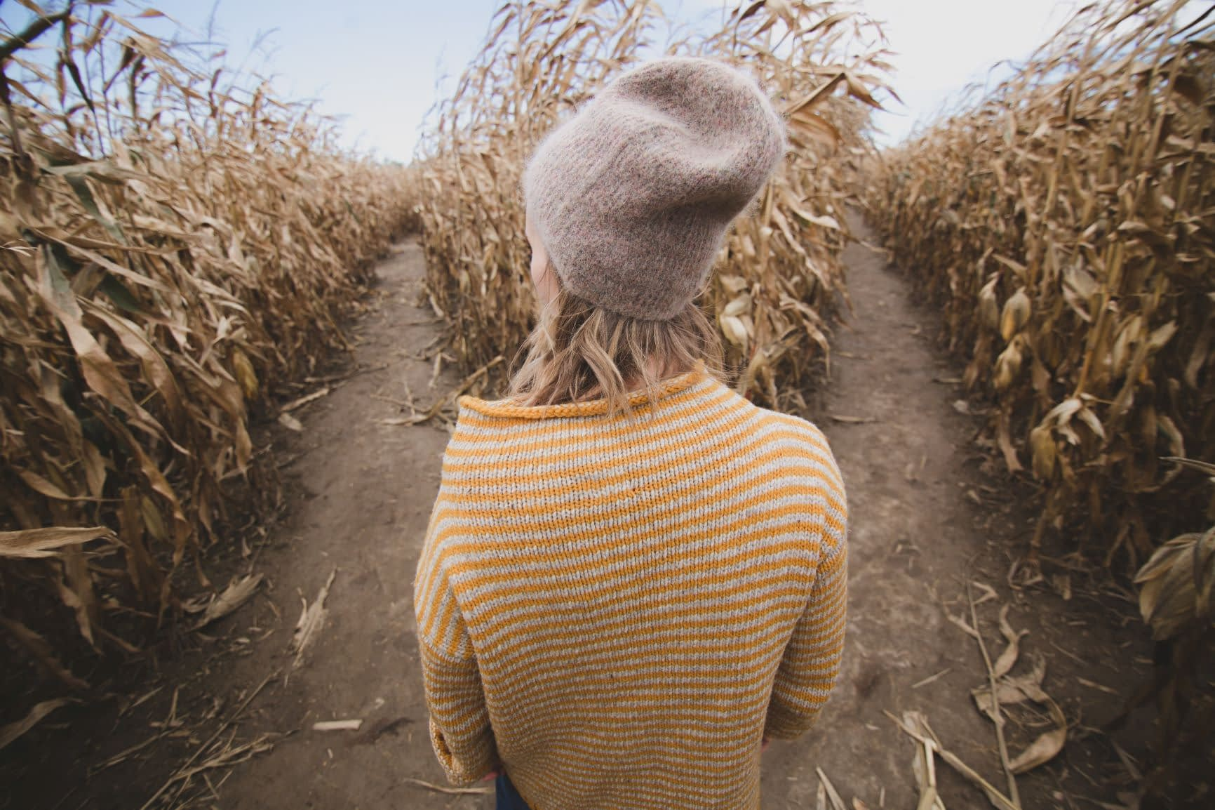 Woman standing between two roads in field of wheat