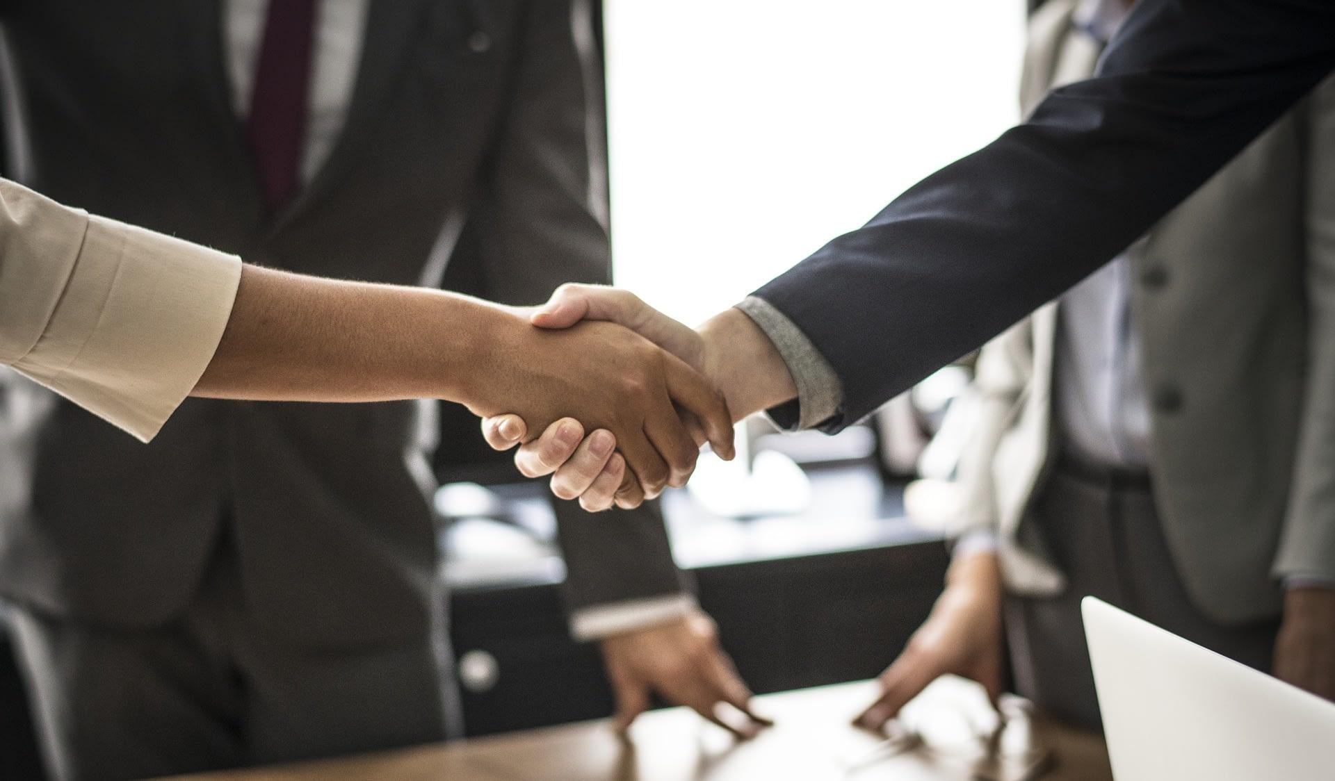 Handshake between two professionals.
